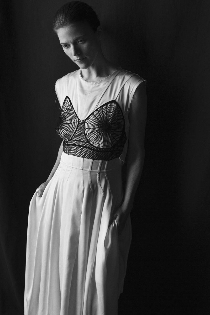 Rose Leslie wearing Celine for MONROWE Magazine. Black and white photography by Krisztian Eder.