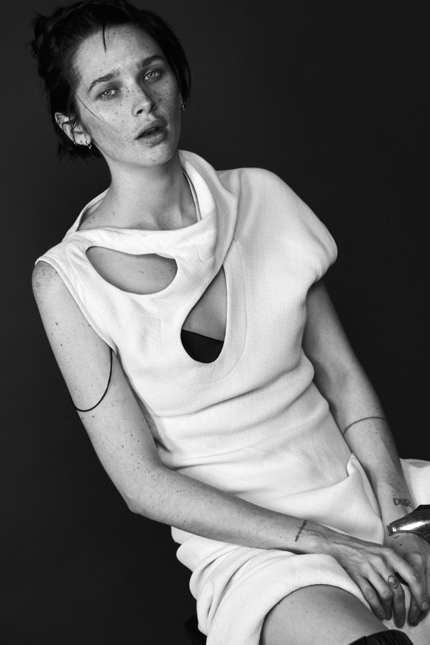 Sara Cummings for MONROWE Magazine. Wearing dress by Celine. Black and White Photo