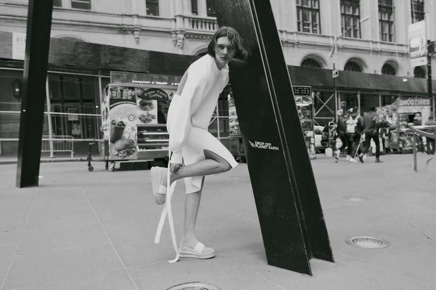 Girl in street looking at camera for Monrowe Magazine. DKNY, Supreme Models, Gabriela Celeste
