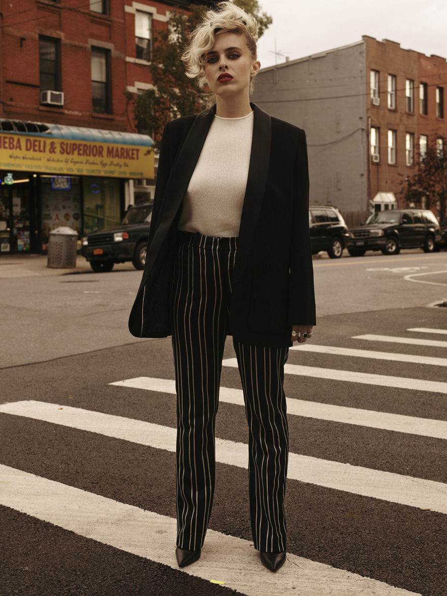 Black Blaze,; Zadig & Voltaire, White Top, Theory, White Striped Pants, Givenchy, Black Pumps, Manolo Blahnik, Head Scarf, Laurent