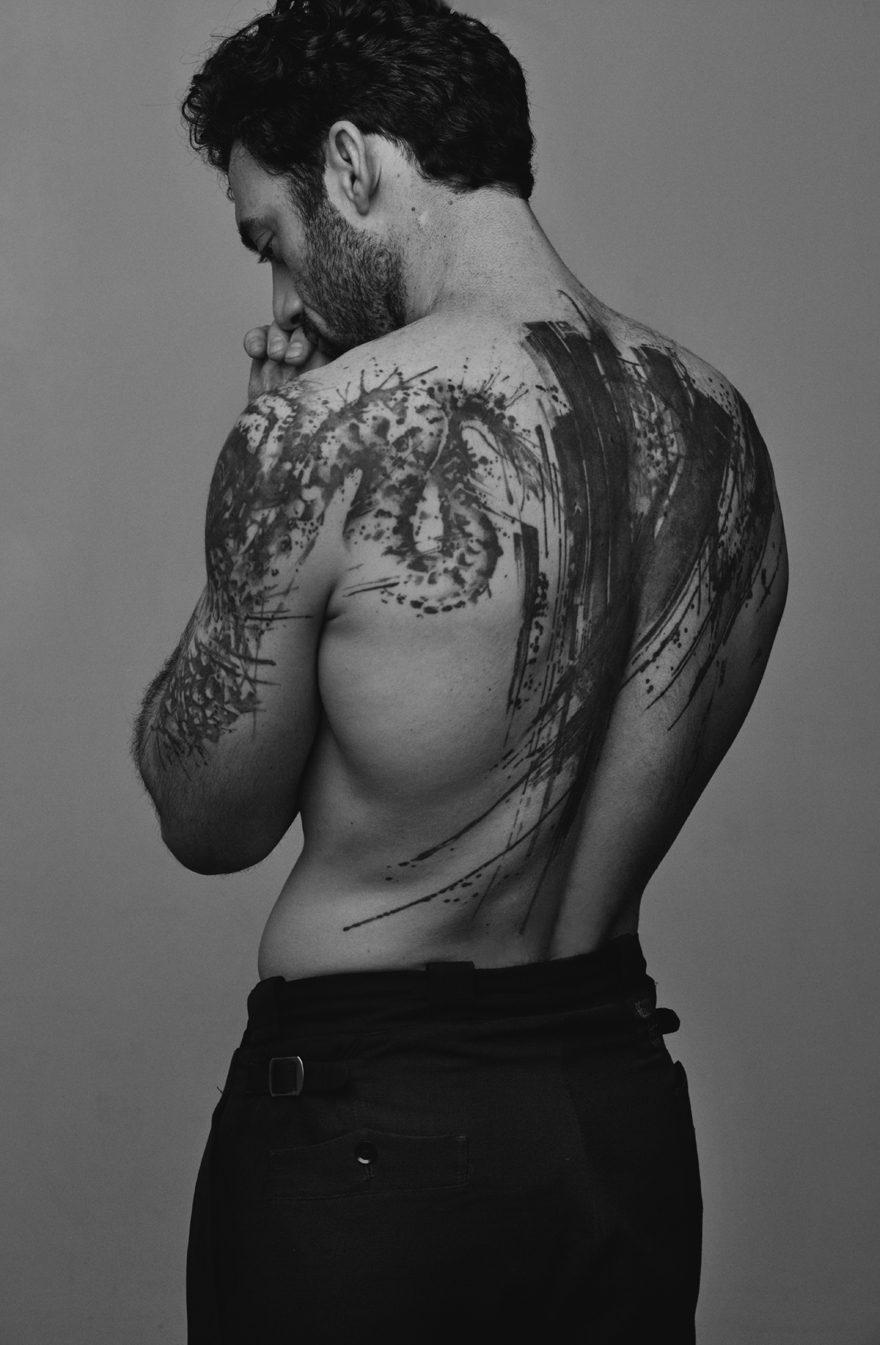 Morgan Spector wearing Yohji Yamamoto for MONROWE Magazine 2017. Black and white photography by Anthony Batista.