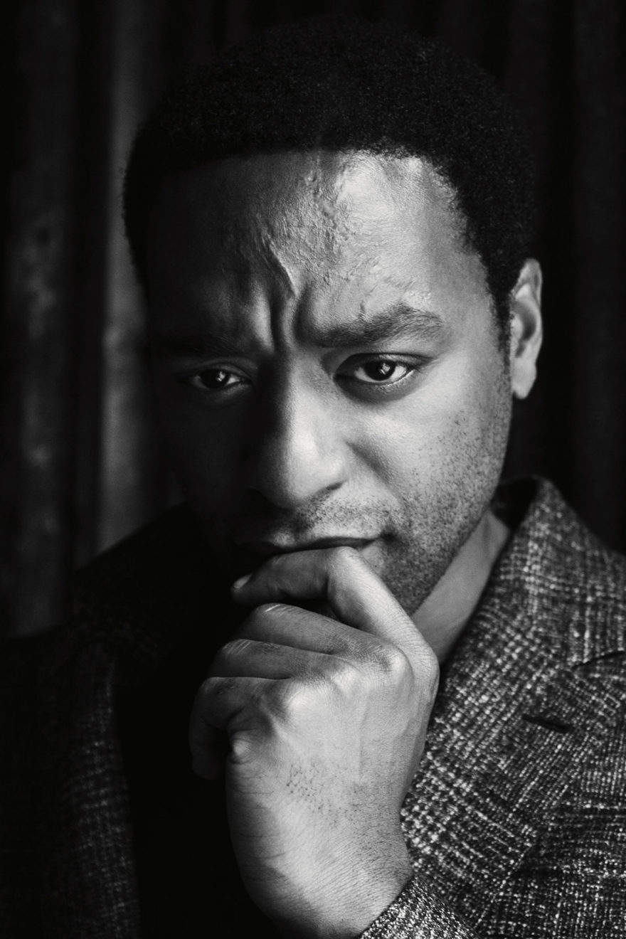 Chiwetel Ejiofor wearing Cerruti 1881 and BLK DNM for MONROWE Magazine. Black and white photography by Jessie Craig.