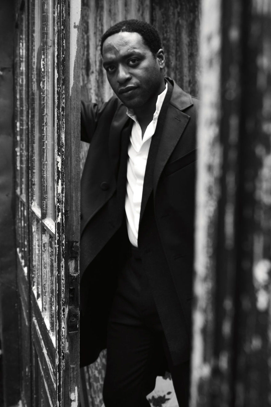 Chiwetel Ejiofor wearing Saint Laurent and Cerruti 1881for MONROWE Magazine. Black and white photography by Jessie Craig.