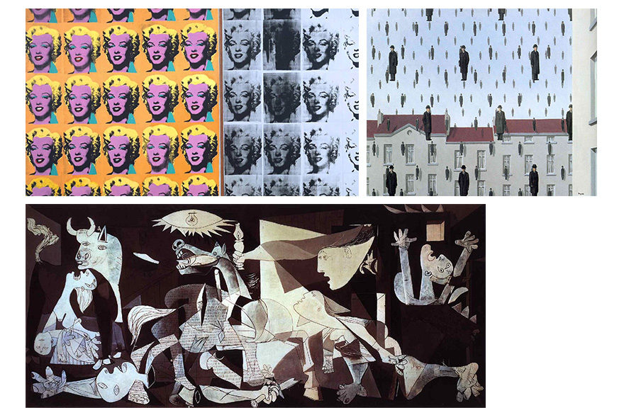 Photos of art: Guernica, Marilyn Diptych and Golconda