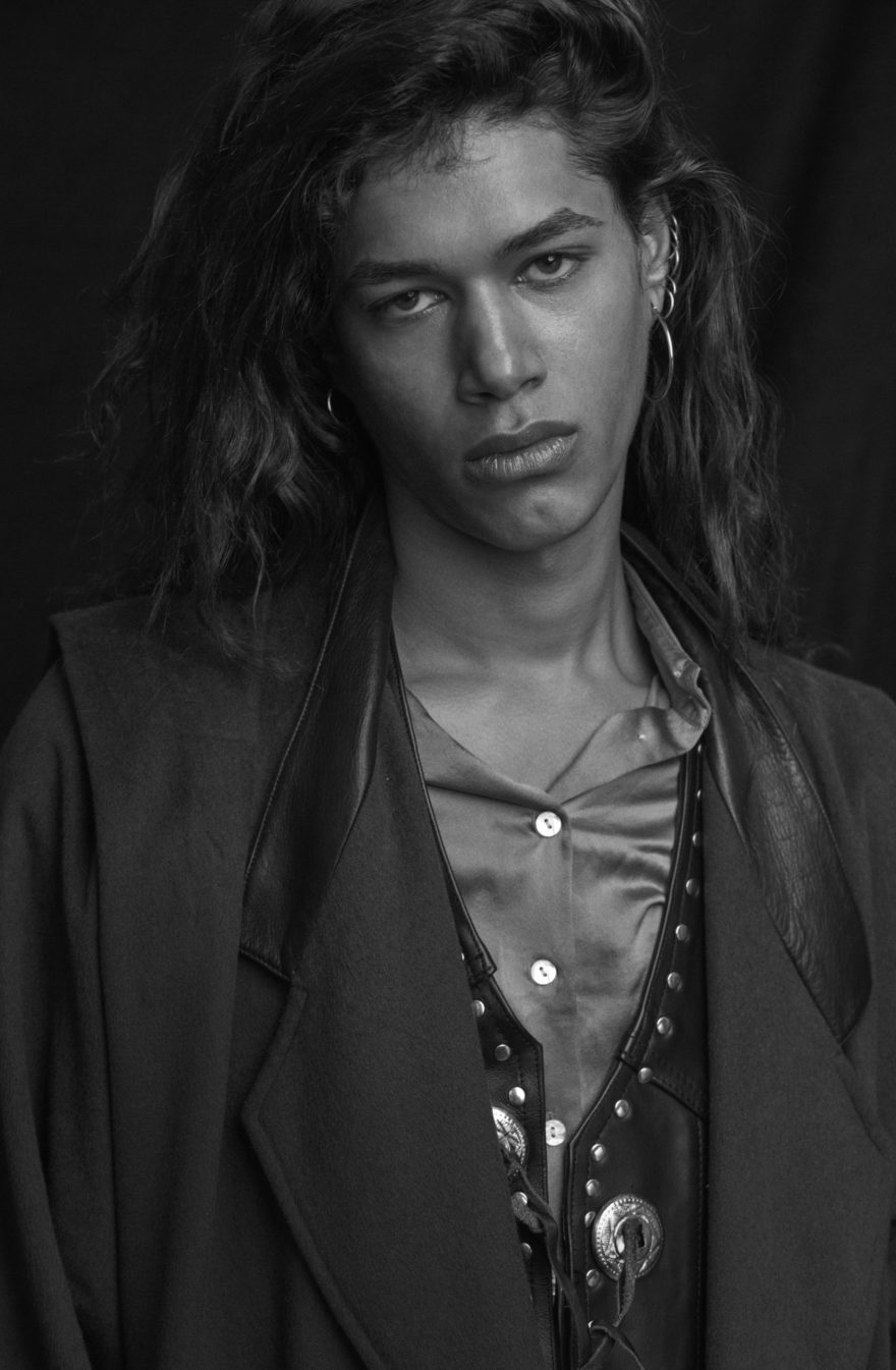 MONROWE with model Jordan Legessa with HEROES photo by Anthony Batista. Black and White Photography. Fashion, New York. Grooming by Eloise Cheung at Kate Ryan.