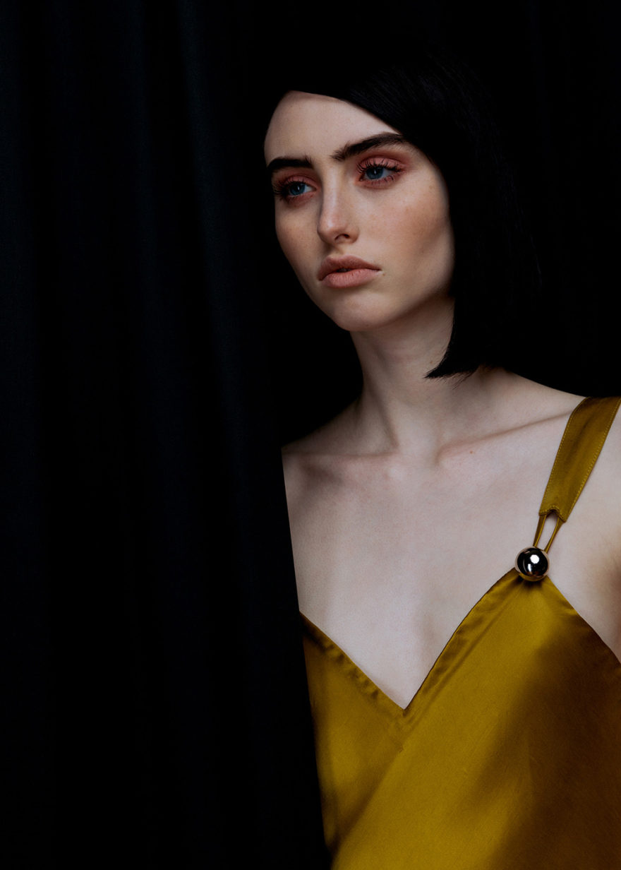 Model BB Jean photographed in color by Lucas Cristino for MONROWE Magazine. Gold silk satin dress by Prabal Gurung.