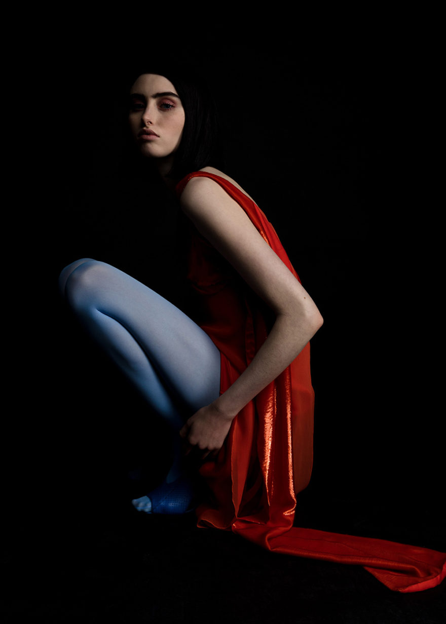 Model BB Jean photographed in color by Lucas Cristino for MONROWE Magazine. Red silk lame dress by Sies Marjen, Blue tights by Fogal, Blue leather shoes by Prabal Gurung.