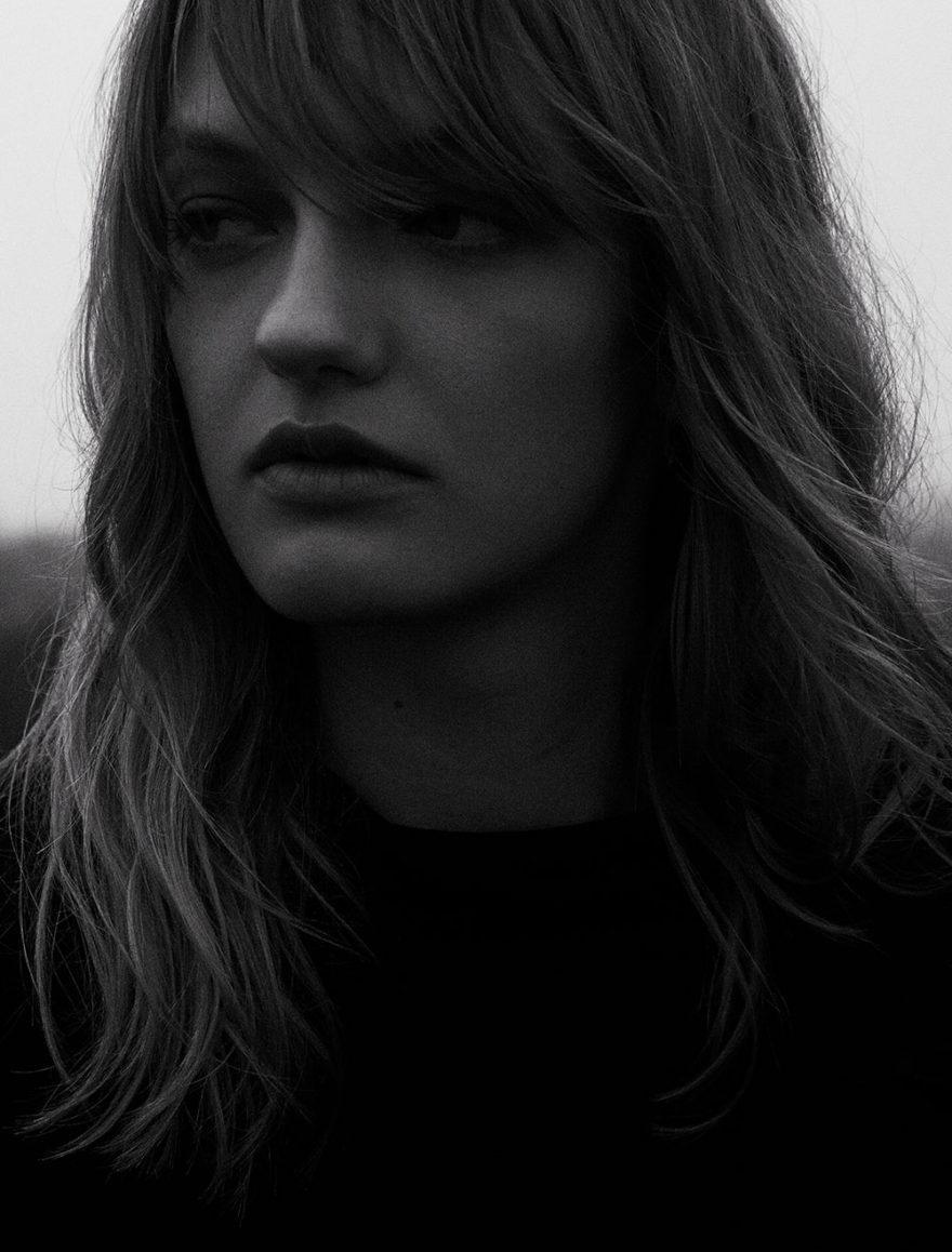Model Stasha photographed in black and white by Vera Comploj for MONROWE Magazine. Black Gilet Coat by Tamuna Ingorokva.