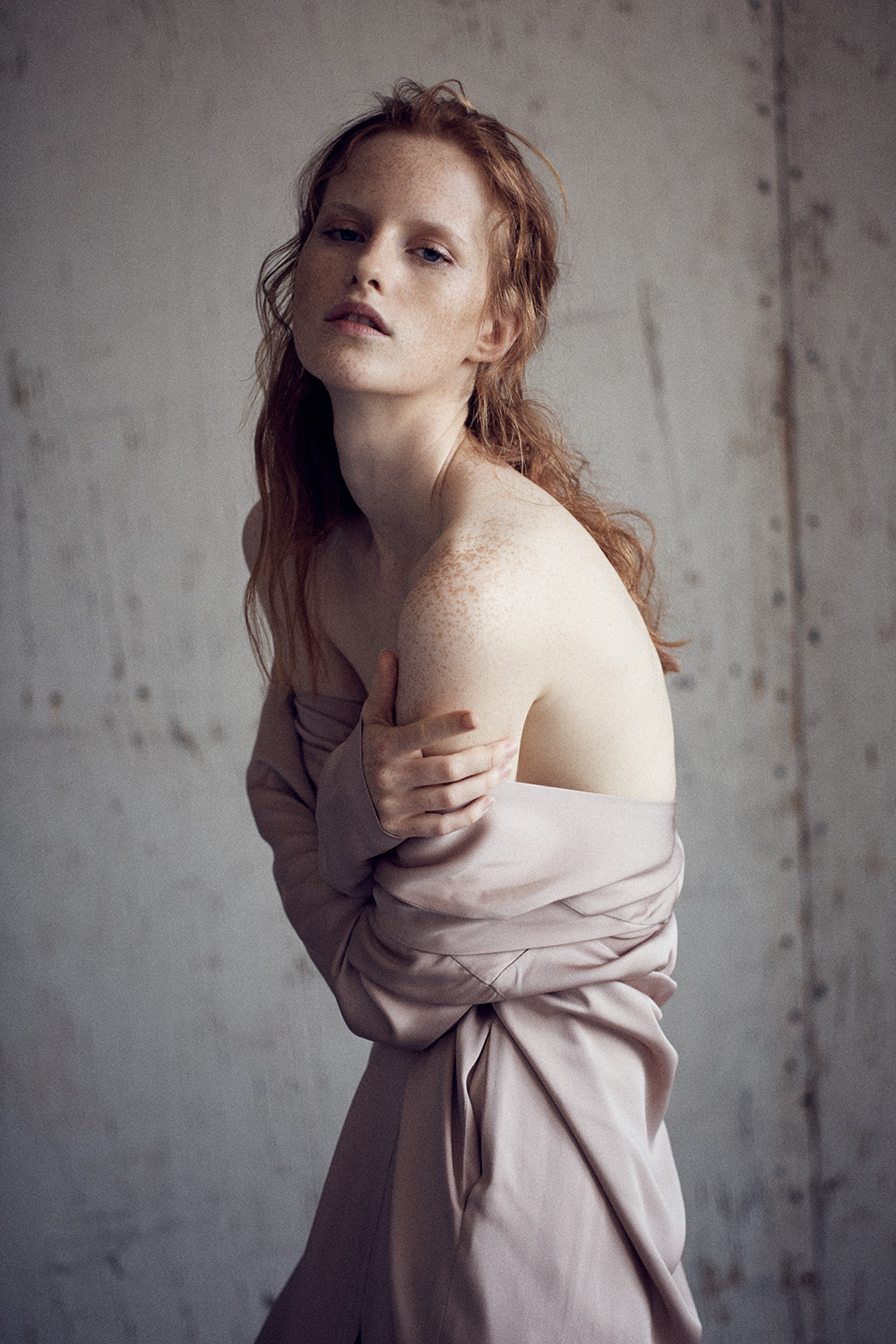 Image of Magdalena Jasek in Nude Satin Dress by Zero + Maria Cornejo. Color photo by Nick Hudson
