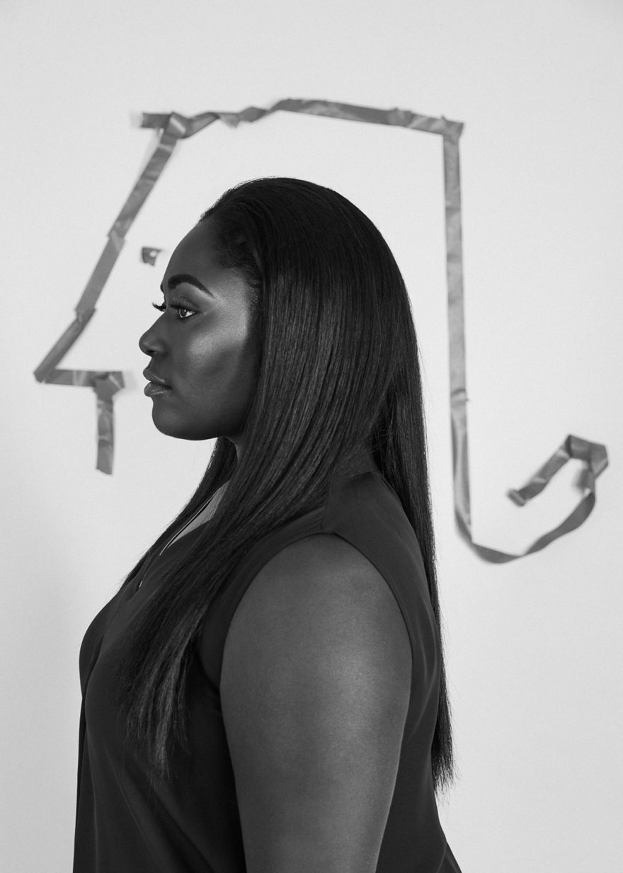 Danielle Brooks wearing Elie Tahari for MONROWE Magazine. Black and white photography by Lucas Cristino.