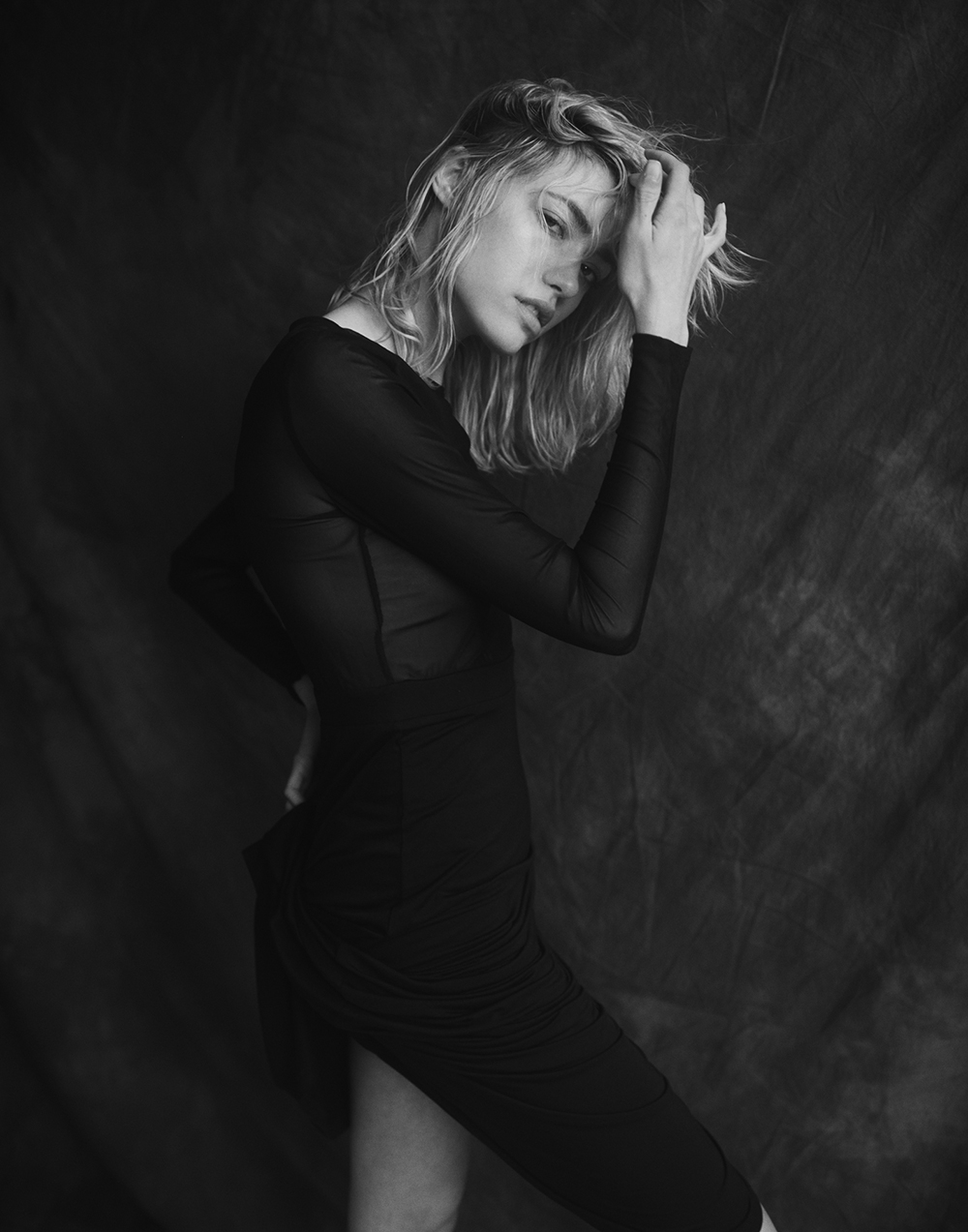 Black and white photograph of model Cora Keegan by Ryan Kelly for MONROWE Magazine.