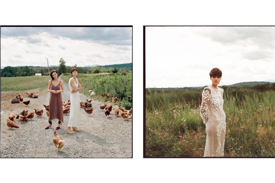 Colored images by Emily Soto for MONROWE magazine of MUSE models Rose Smith and Maria Kudry on the country side