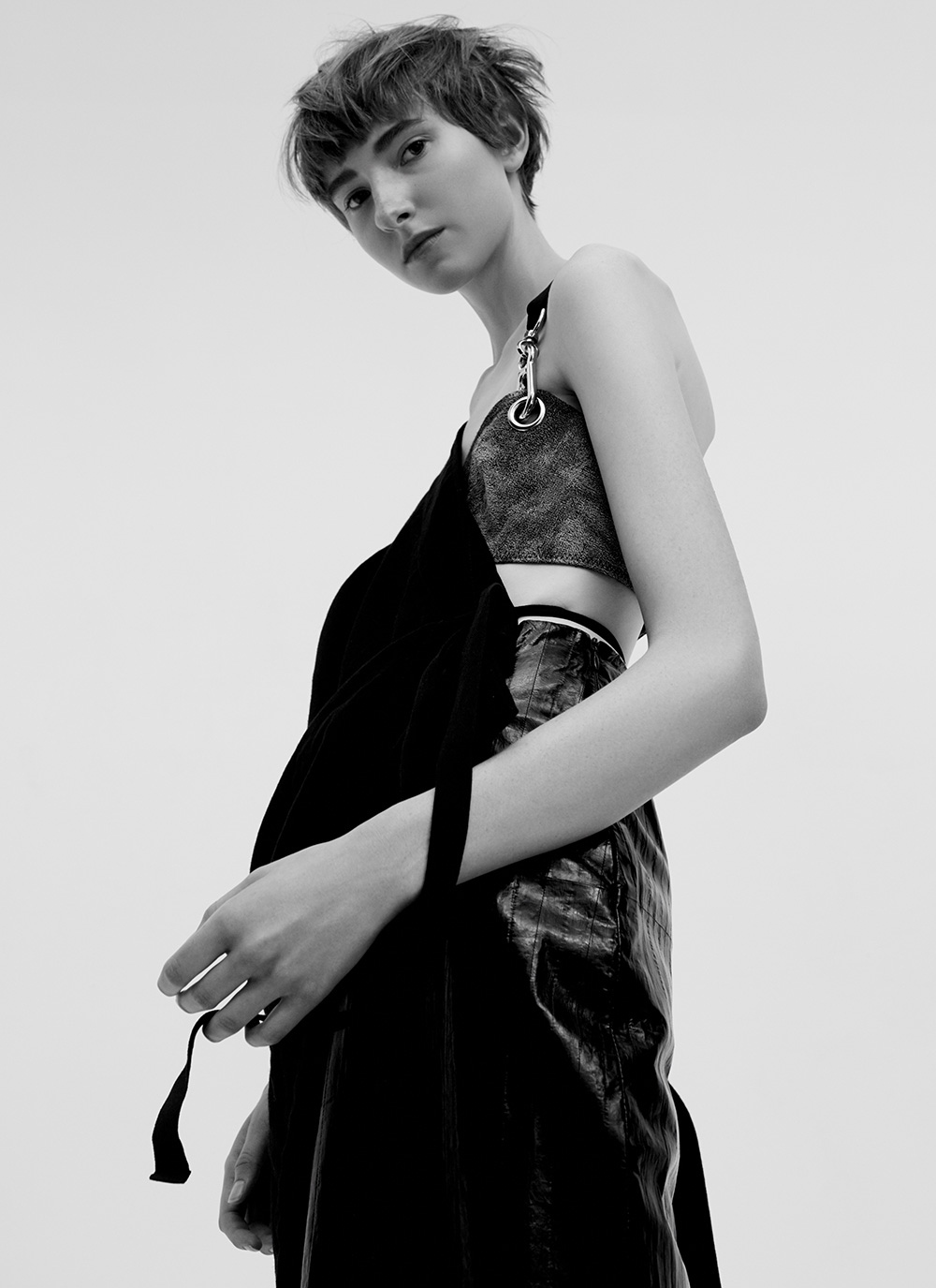 Black and white image by Ricardo Beas of model Mary Tish for MONROWE Magazine