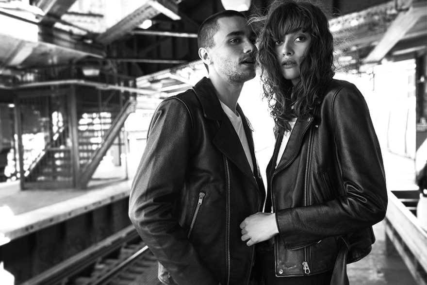 Black and white photo of models Adriana Bexa and Miles Frank by Rami Pyrdol for MONROWE Magazine