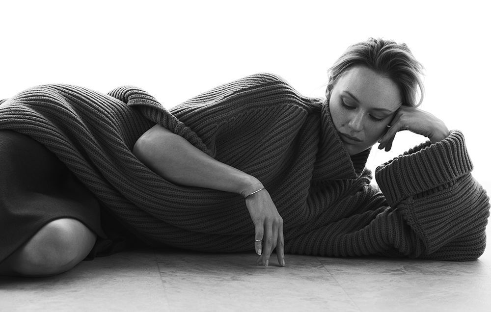 Black and white photo by Ryan Michael Kelly of actress Kerry Biché for MONROWE Magazine
