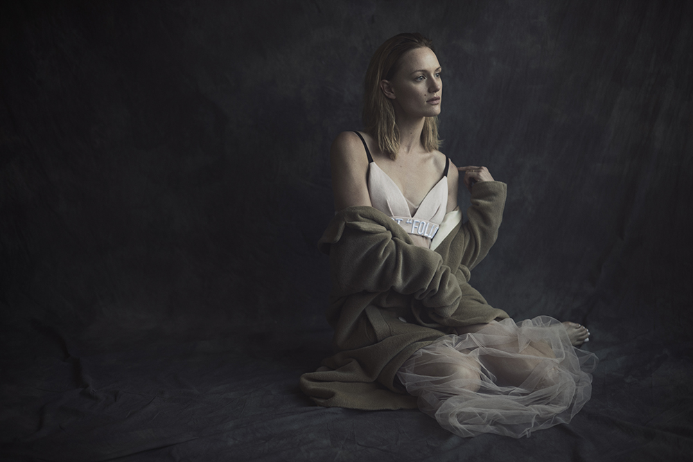 Colored photo by Ryan Michael Kelly of actress Kerry Biché for MONROWE Magazine