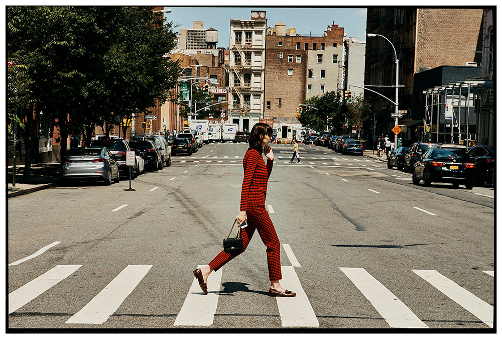 Photo by Jake Jones of model Kara Gall walking the cross walk for MONROWE magazine