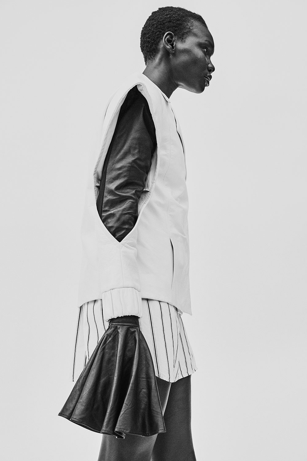 Black and white photo by Lauren Loncar of model Adot for MONROWE magazine