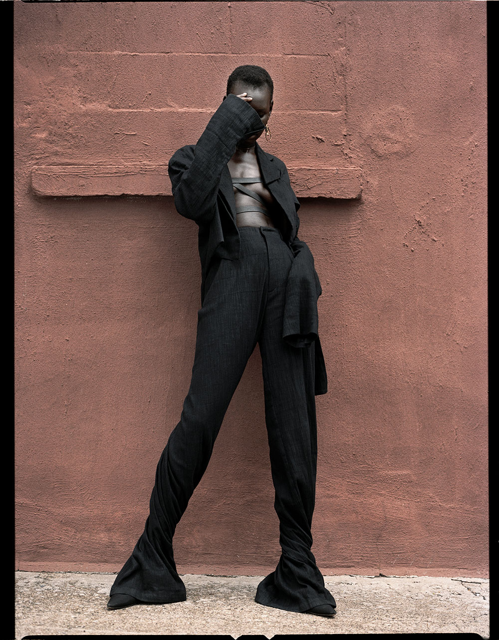 Colored photo by Lauren Loncar of model Adot for MONROWE magazine