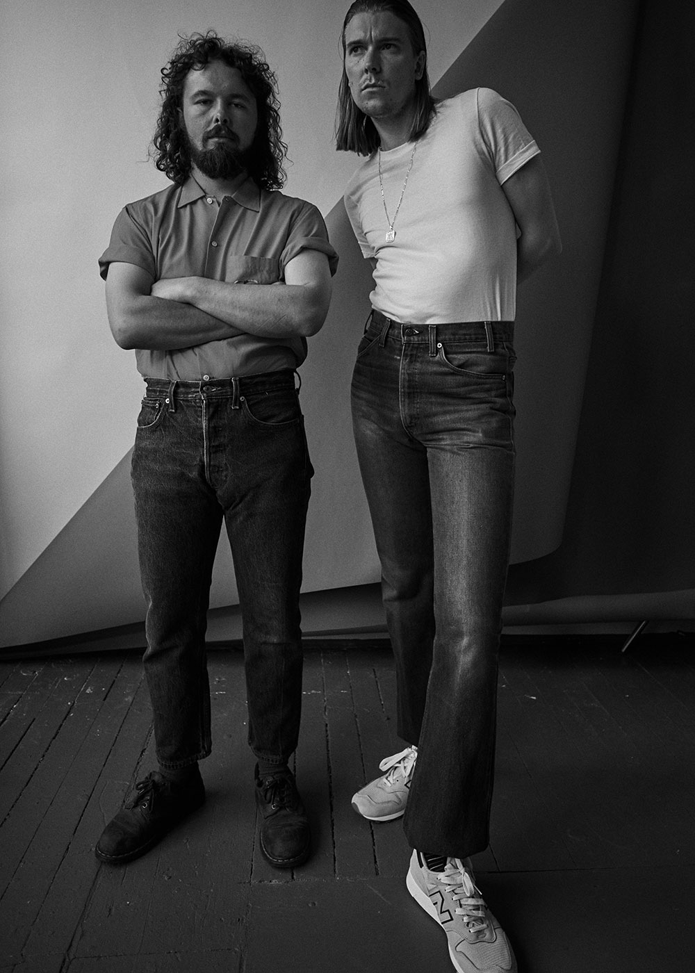 Black and white photo of Alex Cameron and Roy Molloy standing by JackO'Connor for MONROWE Magazine