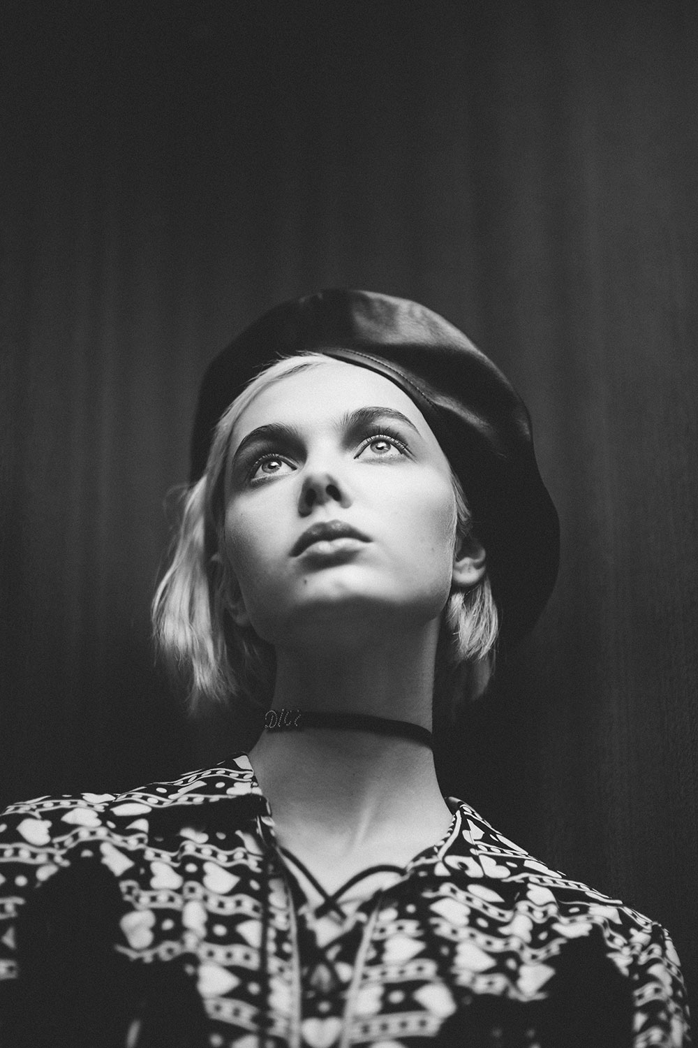 Black and white photo by Alex Black of model Emma from Elite models for MONROWE Magazine