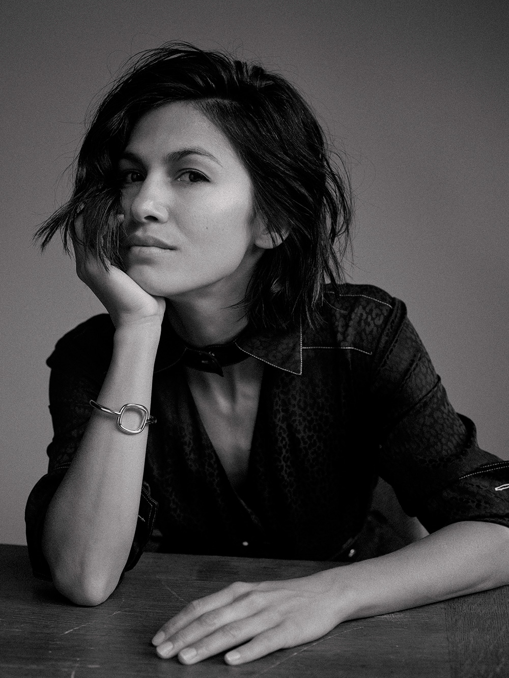 Black and white image of Elodie Yung for MONROWE Magazine. Balmain.