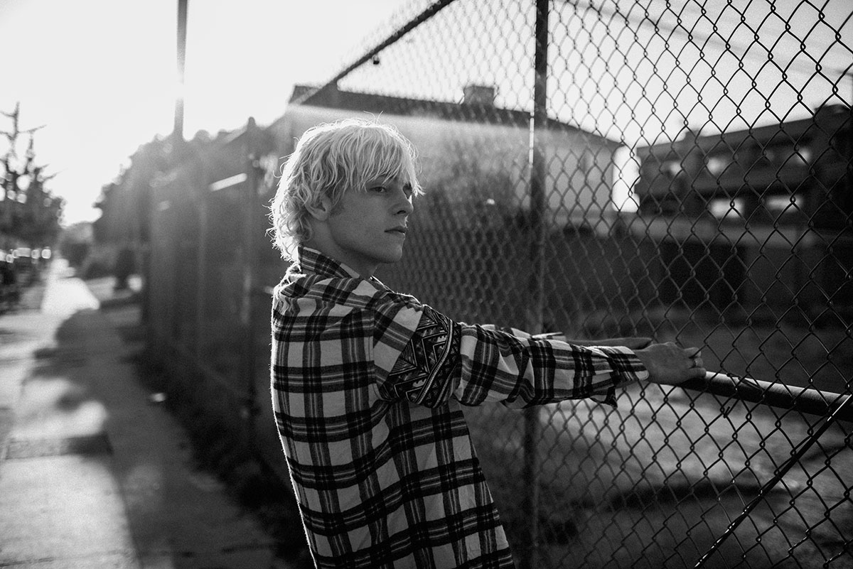 Black and white photo of talent Ross Lynch by Theo Gosselin styled by Sean Knight for MONROWE Magazine