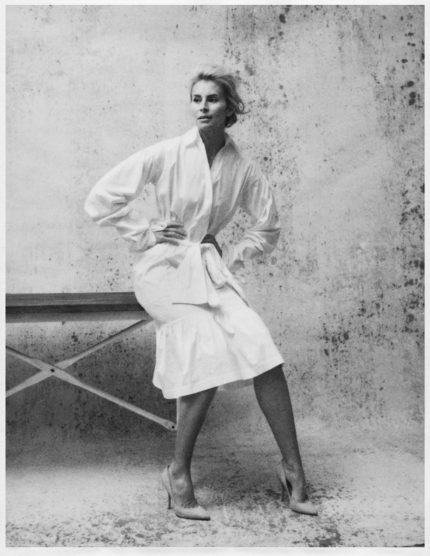 Black and white photo of model Niki Taylor by Emily Soto for MONROWE Magazine