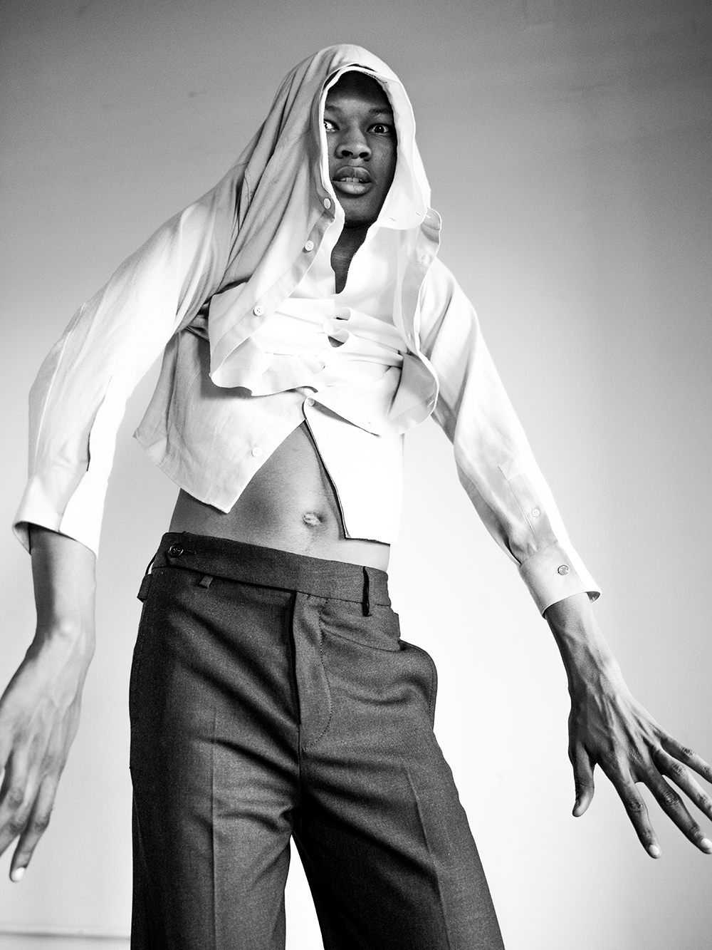 Black and white photo of Jabali Sandiford by Michael Donovan for MONROWE Magazine
