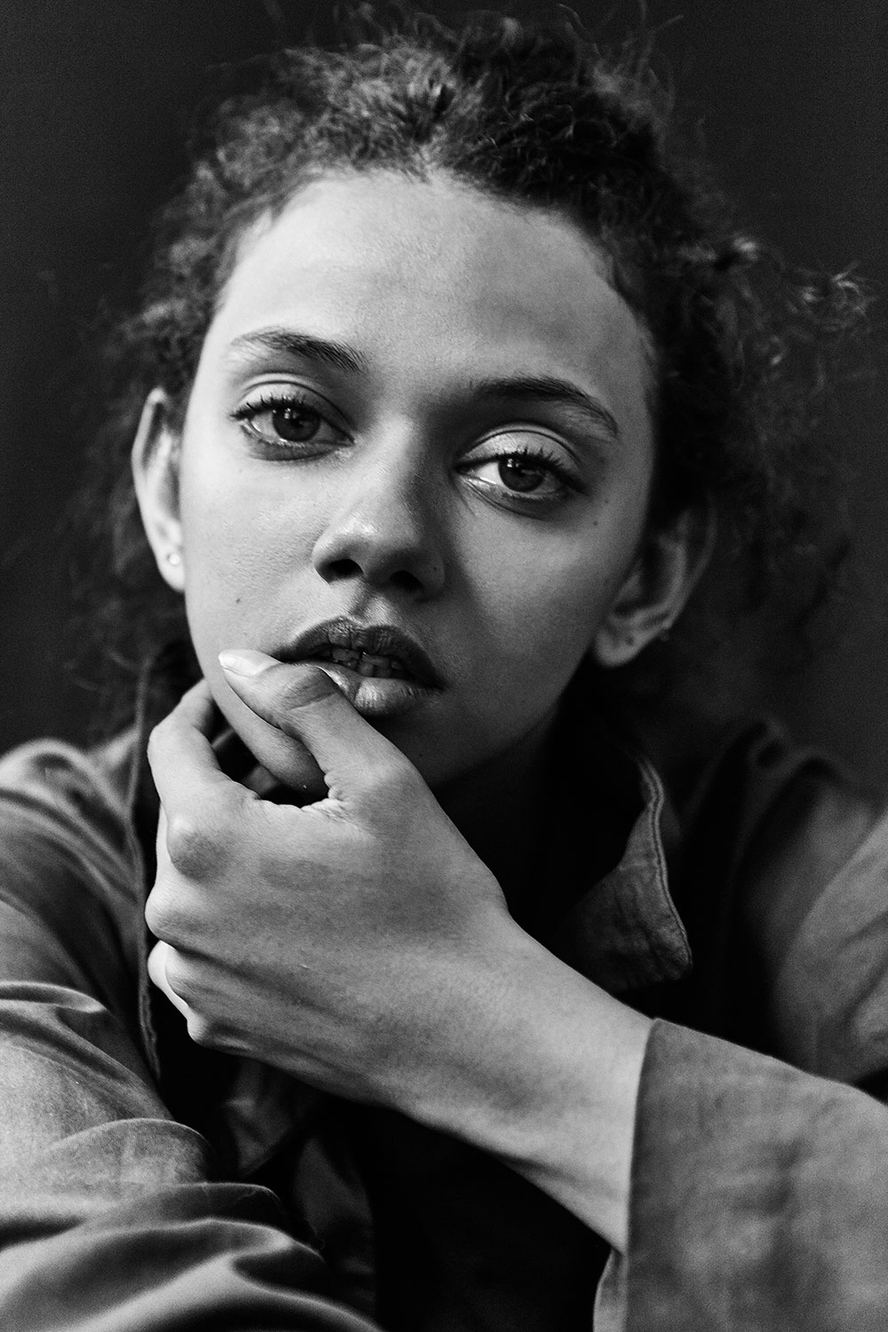 Black and white photo of Marina Nery from IMG Models by Patrick Xiong for MONROWE Magazine