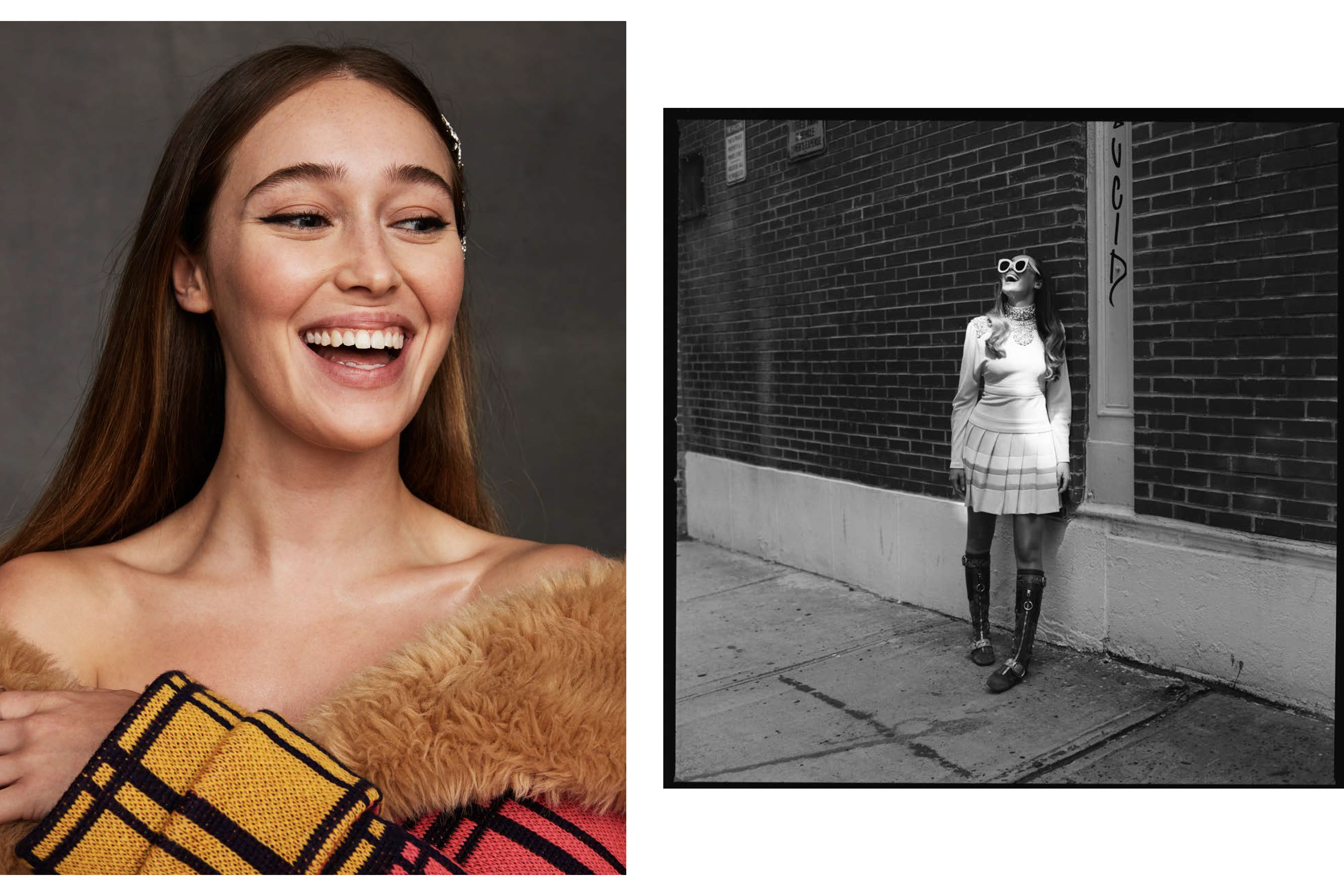 Black and white and colored images of Alycia Debnam Carey by Max papendieck for MONROWE magazine