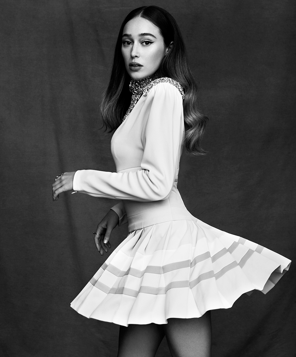Black and white image of Alycia Debnam Carey by Max papendieck for MONROWE magazine