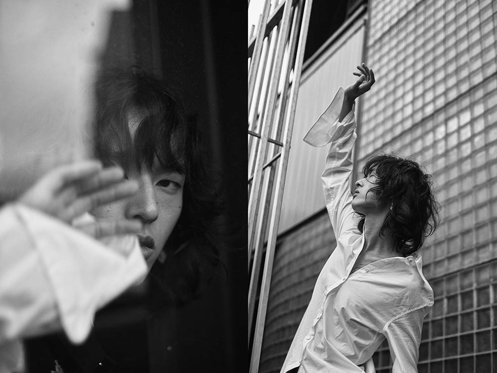 Black and white image of Davin Yang by Alex & Iggy for MONROWE Magazine