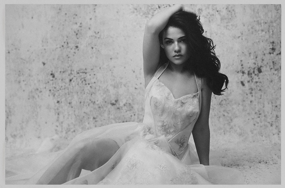 Black and white photo by Emily Soto of actress Danielle Campbell for MONROWE Magazine