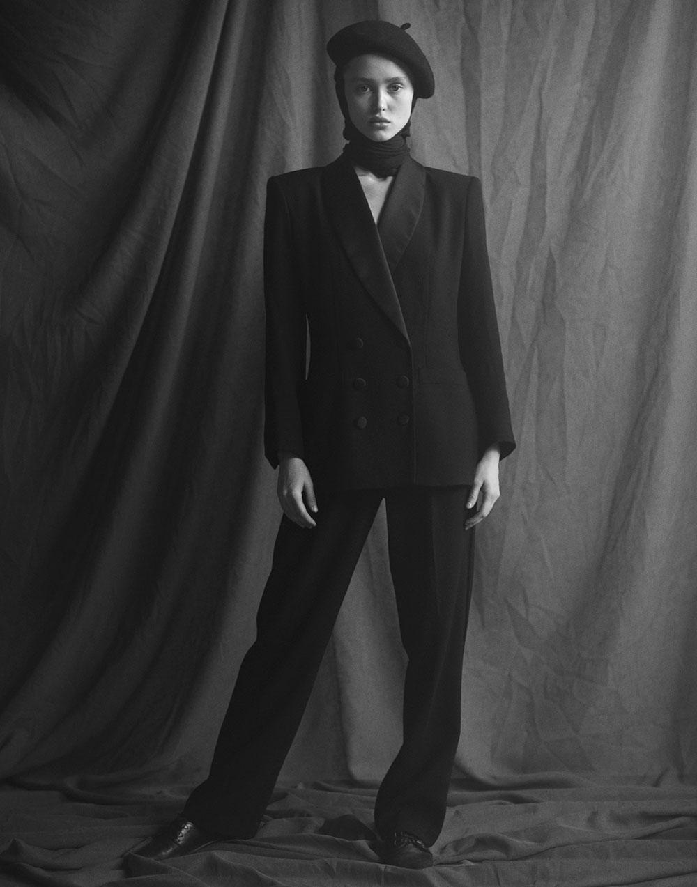 Black and white photo of Aliyah Galyautdinova by Ryan Michael Kelly for MONROWE magazine