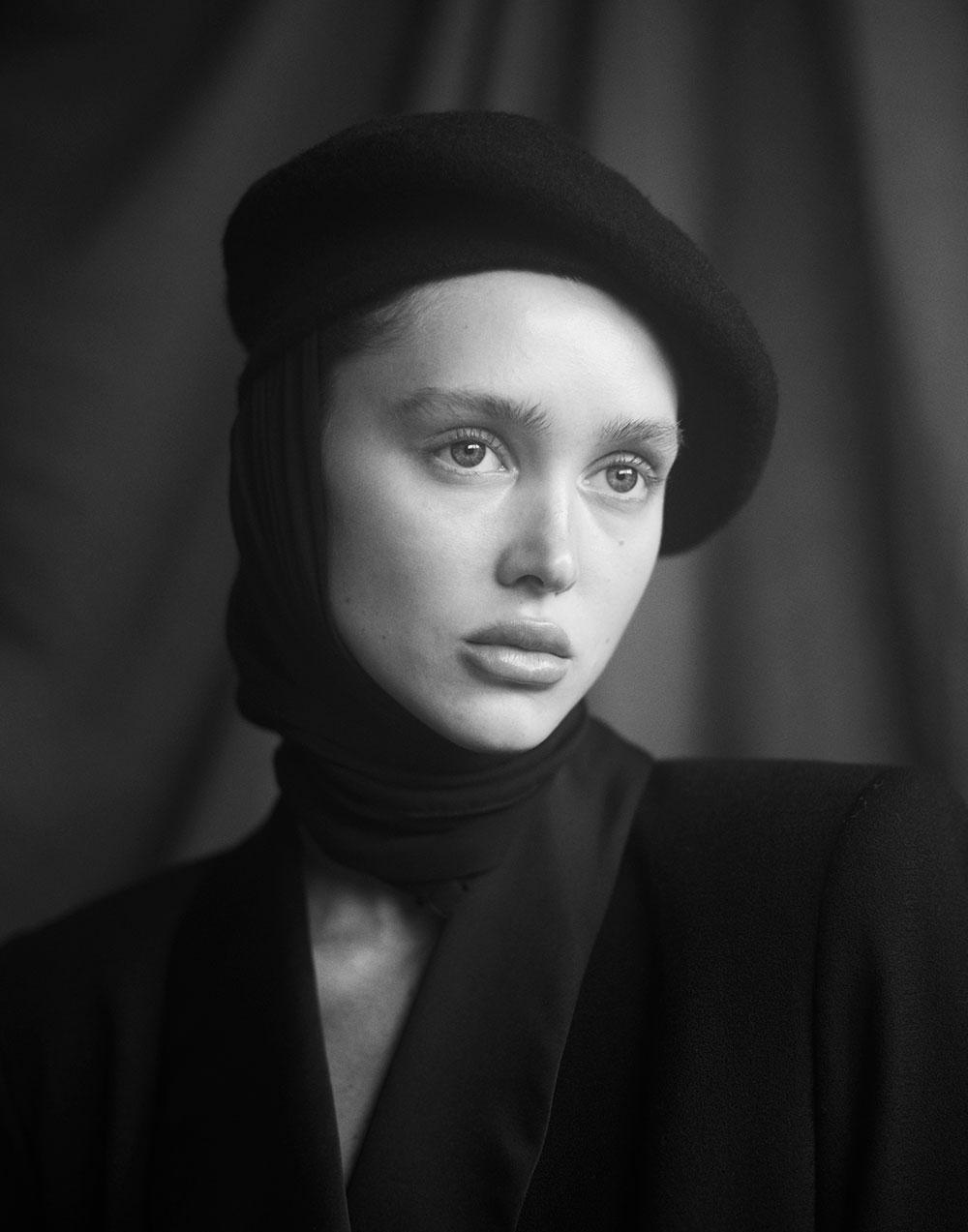 Black and white photo by of Aliyah Galyautdinova Ryan Michael Kelly for MONROWE magazine