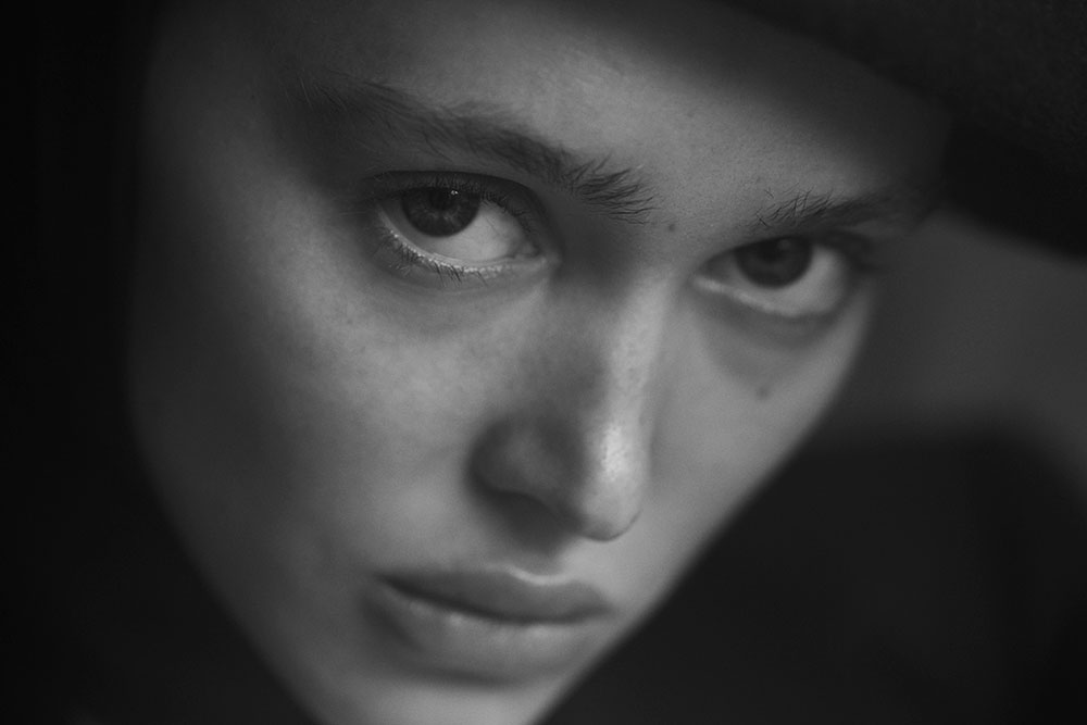 Black and white photo of Aliyah Galyautdinova by Ryan Michael Kelly for MONROWE magazine