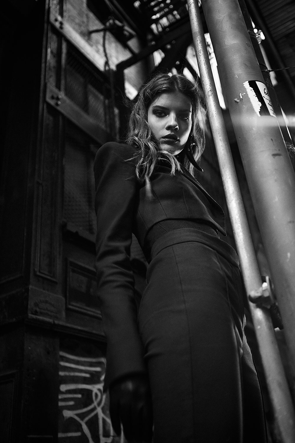 Black and white photo of Liza Fomicheva by Patrick Xiong for MONROWE Magazine