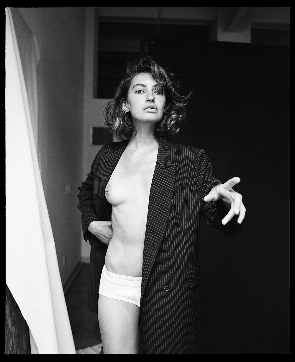 Dancing Croatian - Black and white photo of Marina Komesarovic by Nick Sabatalo for MONROWE Magazine
