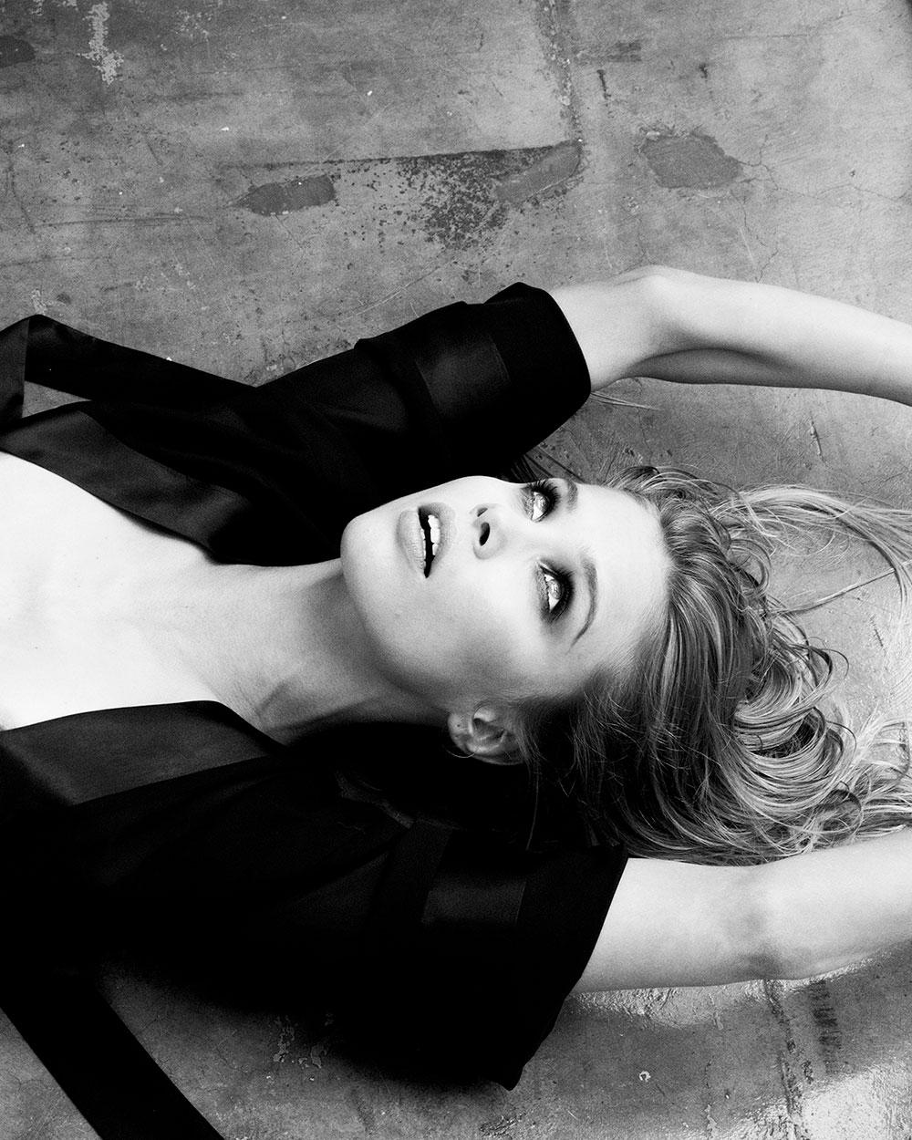 Black and white photo of Allie Leggett by Michael Donovan for MONROWE Magazine