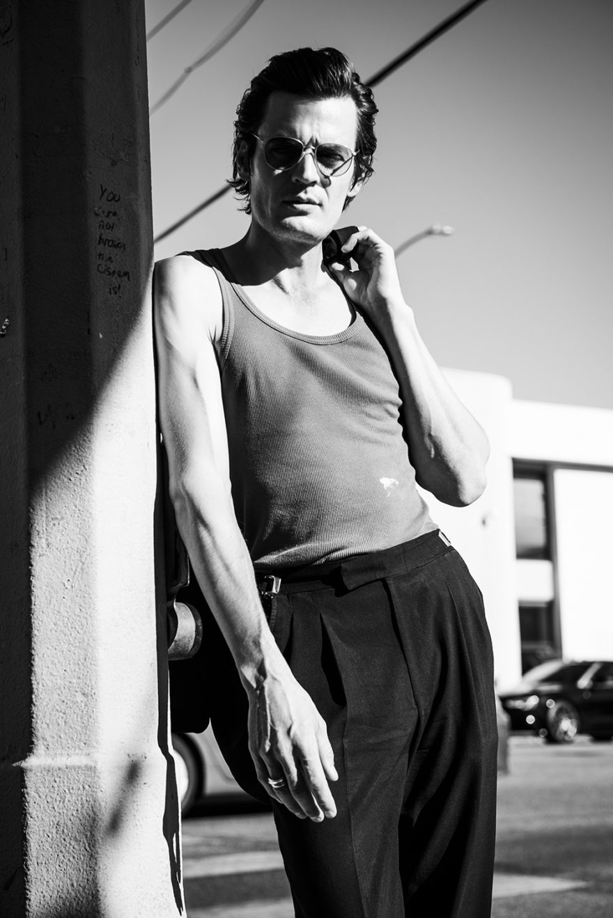 Black and white photo of Calvin Love by Alex Freund for MONROWE Magazine